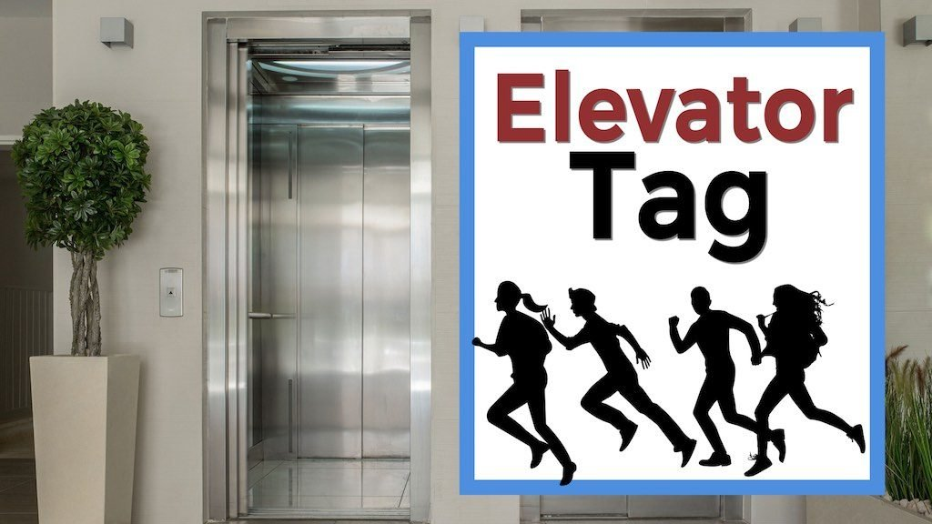 Elevator Tag Silhouettes of people running with an elevator on a first date