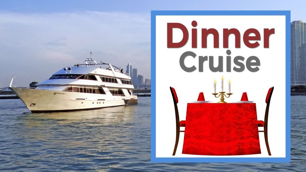 Dinner Cruise yacht and table with candles