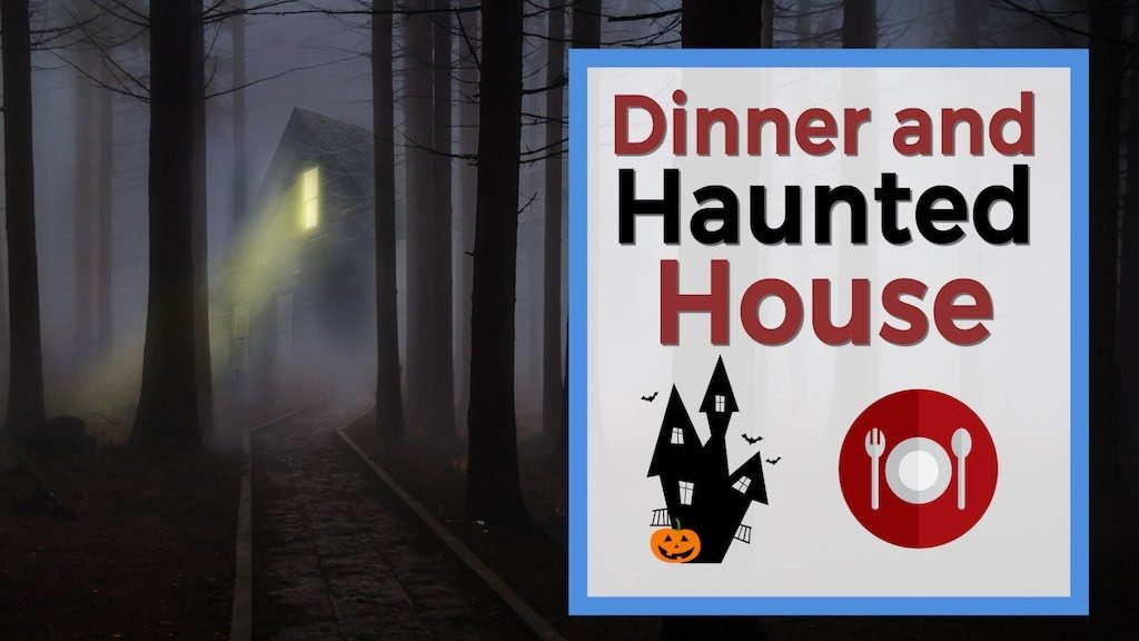 Dinner and Haunted House creepy house in trees