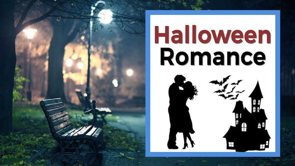 Text reads halloween romance with a couple kissing and a haunted house at a park
