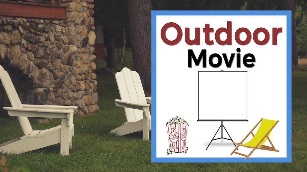 outdoor movie text with screen popcorn yellow lawn chair and backyard