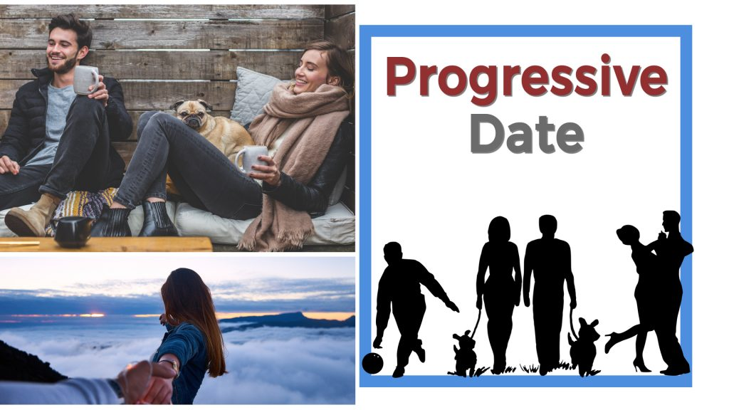 Progressive Date Couple dancing, couple in the mountains, couple sitting down with a dark