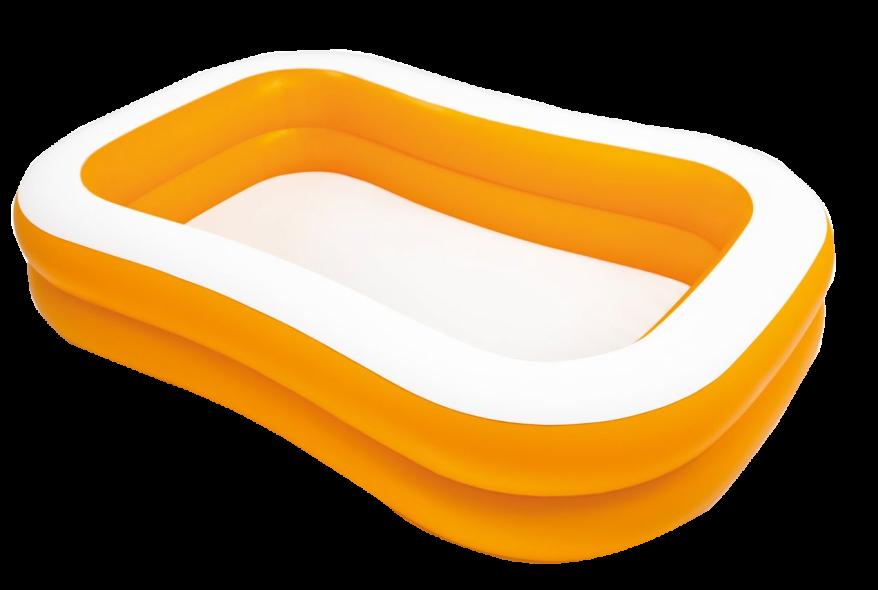 orange and white inflatable kiddie pool