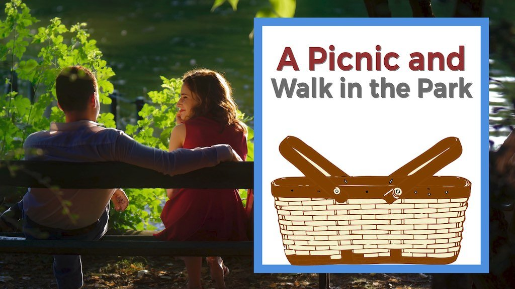 A Picnic and Walk in the Park cheap date idea man and woman on park bench near pond