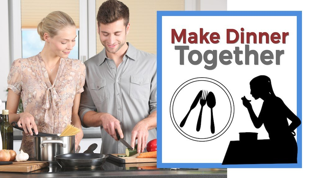 Make Dinner Together girl and guy in kitchen making pasta