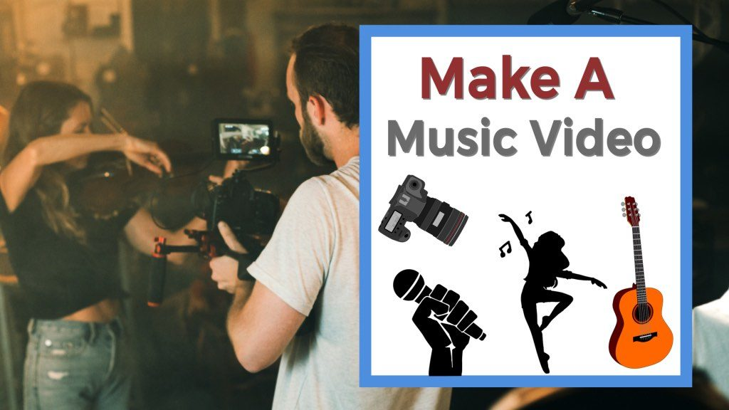 Make a music video Guy filming a girl with violin