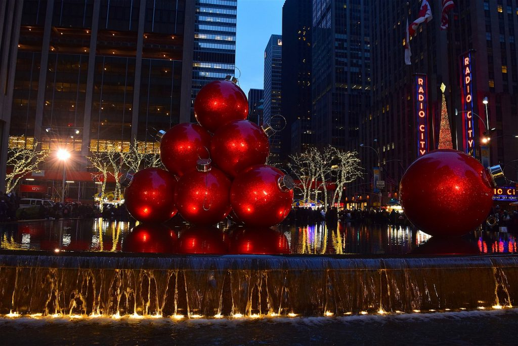 Large red Christmas baubles display
