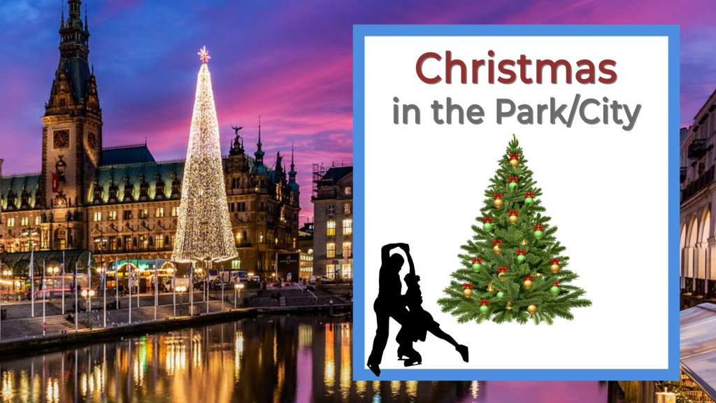 Christmas in the park or city with ice skating Christmas tree