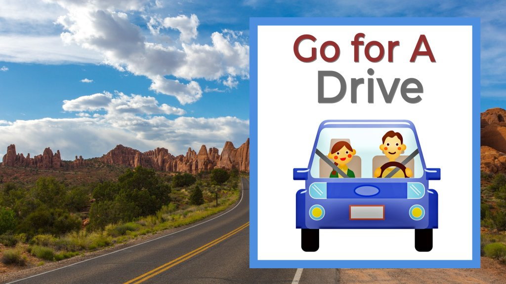 Go for a drive cartoon couple in blue car with scenic desert landscape