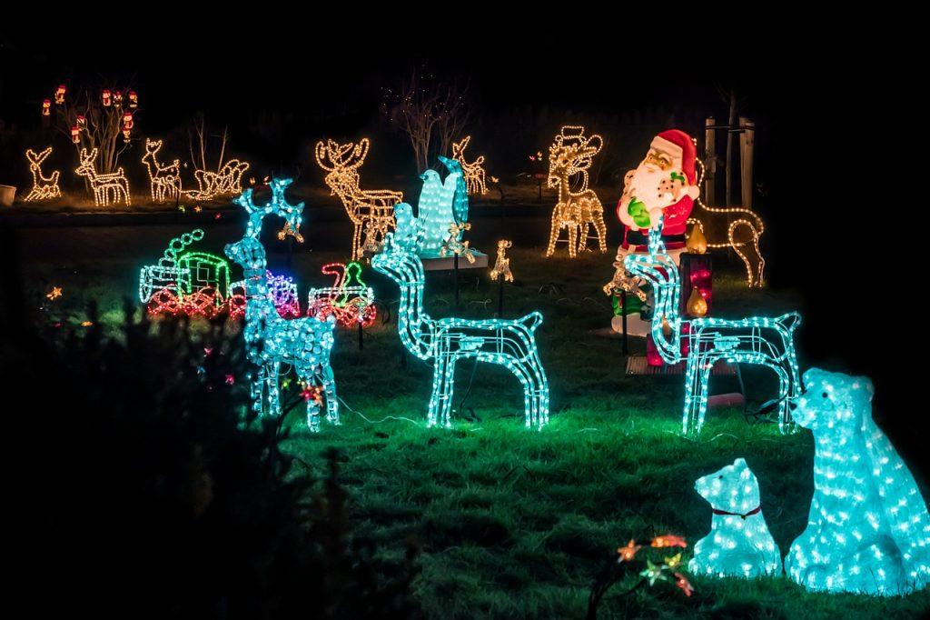 Yards with Christmas lights