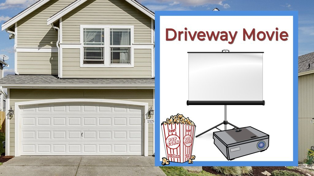 Driveway movie text with projector and screen and popcorn