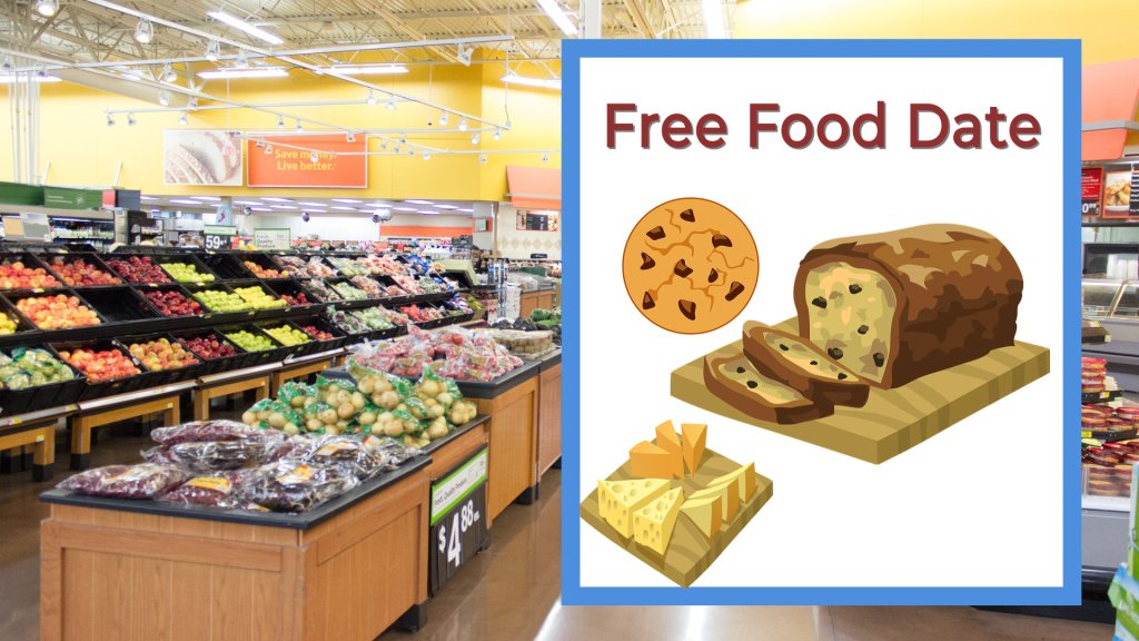 Free Food Date Supermarket with cookie bread and cheese samples