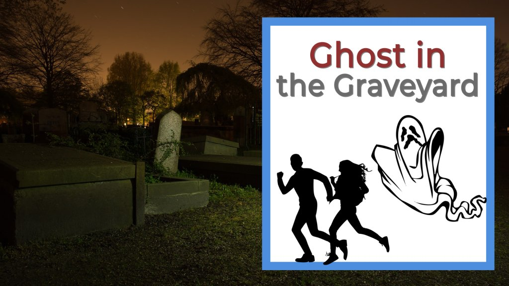 Ghost in the graveyard, people running from a ghost in a graveyard