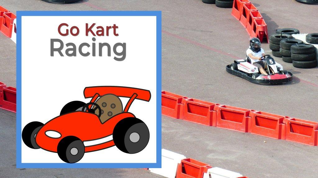 go kart racing, guy racing around a track