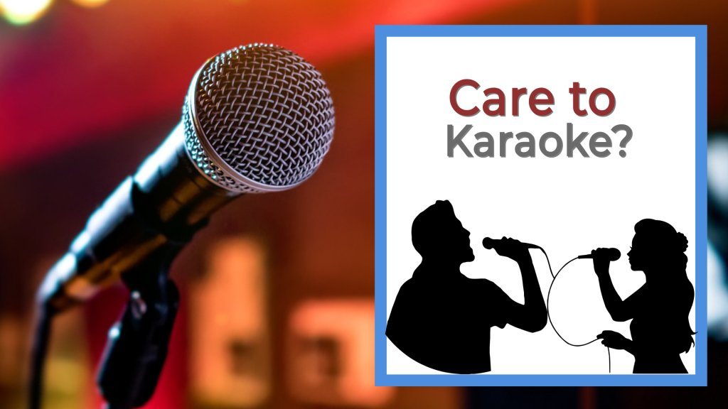 Care to Karaoke two people holding microphones and singing