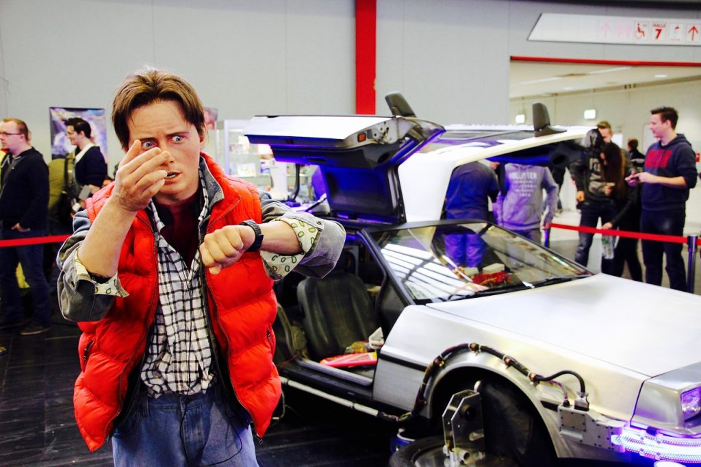 back to the future display at a convention