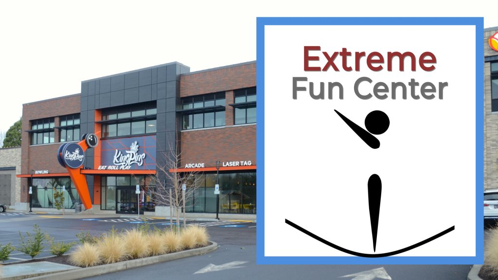 extreme fun center with figure jumping on trampolines