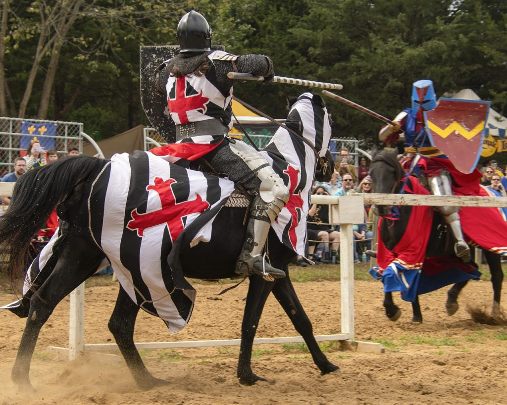 Knights jousting at a renaissance festival