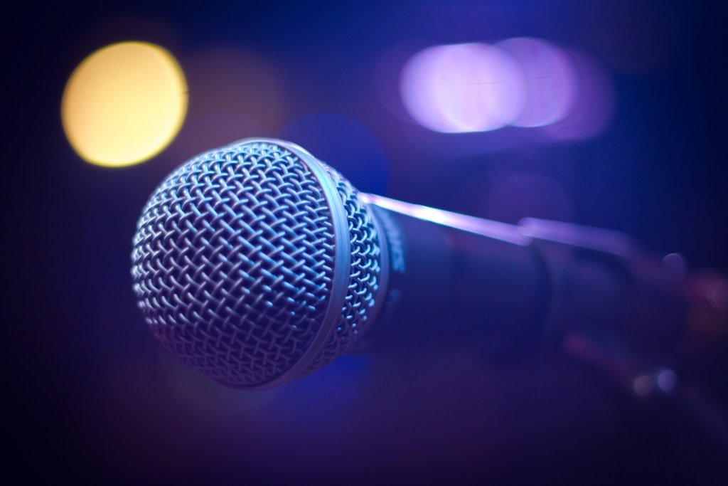 Microphone on stage for karaoke