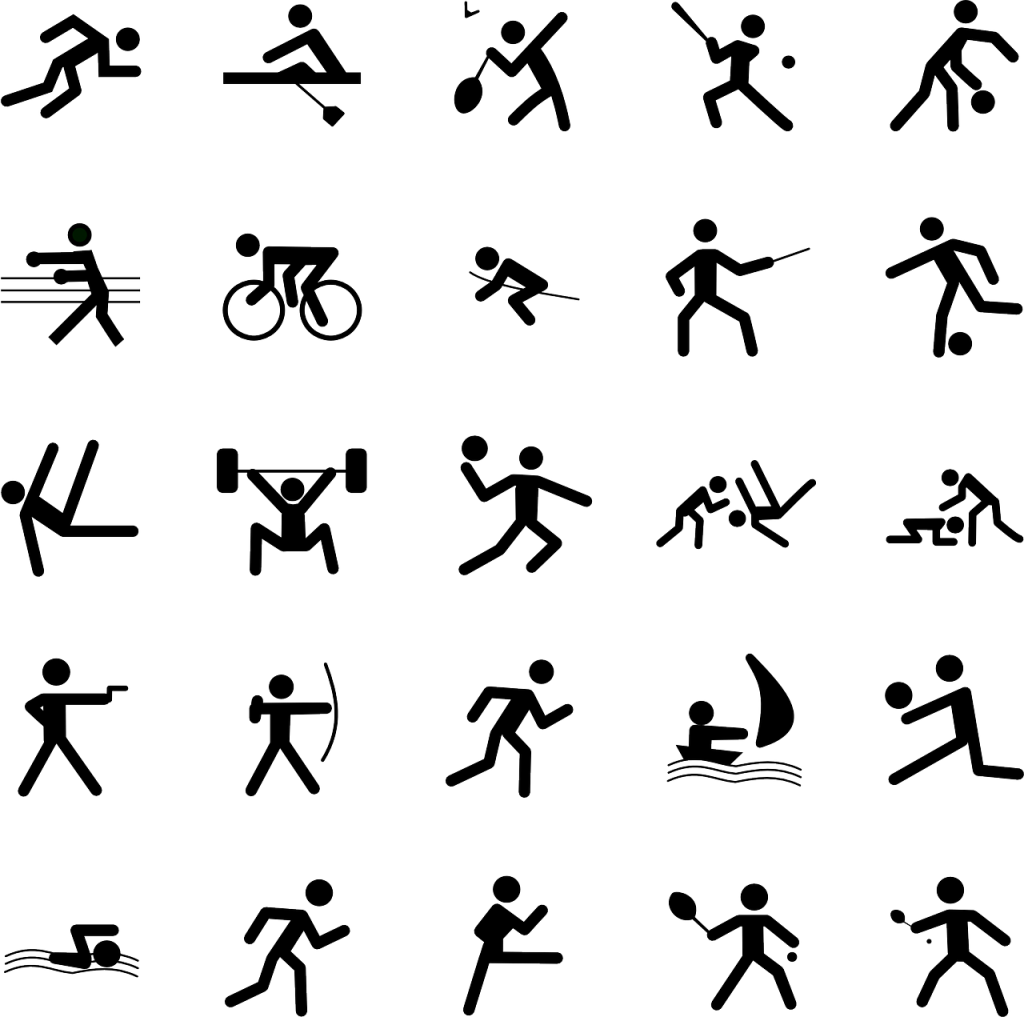 A variety of sports icons with black stick figures