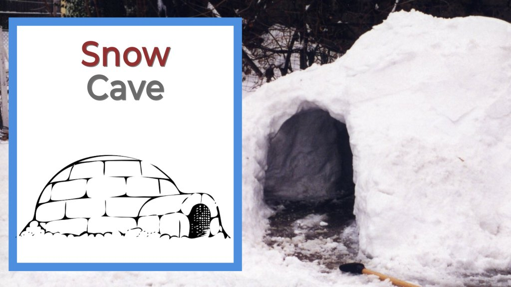 Snow cave in the forest