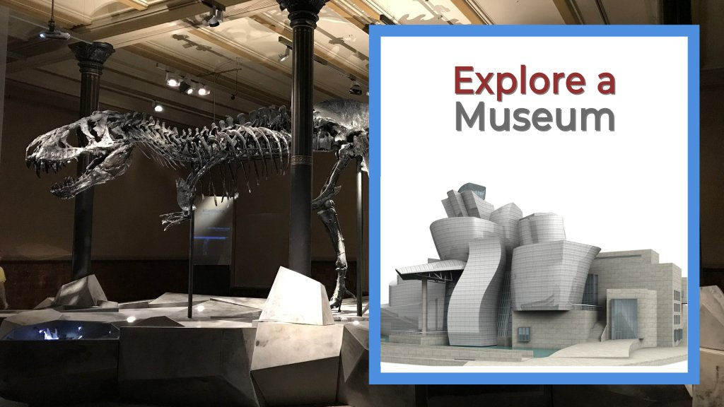 Explore a museum dinosaur in a room