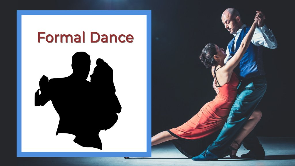 Formal dance girl in red dance dancing with a man