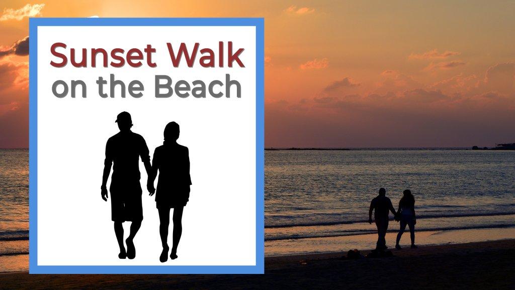Sunset walk on the beach a man an woman walking on the beach at sunset