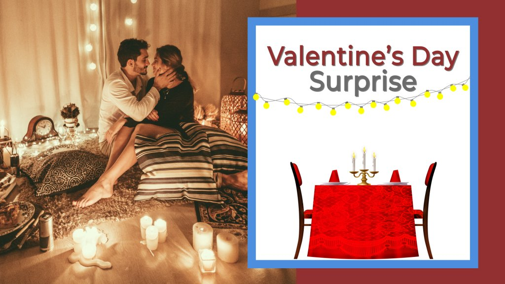 Valentine's Day Surprise girl and guy sitting together in room with candles