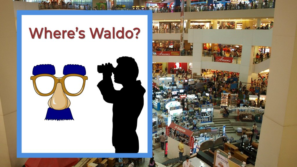 Where's waldo in a mall with shops and people