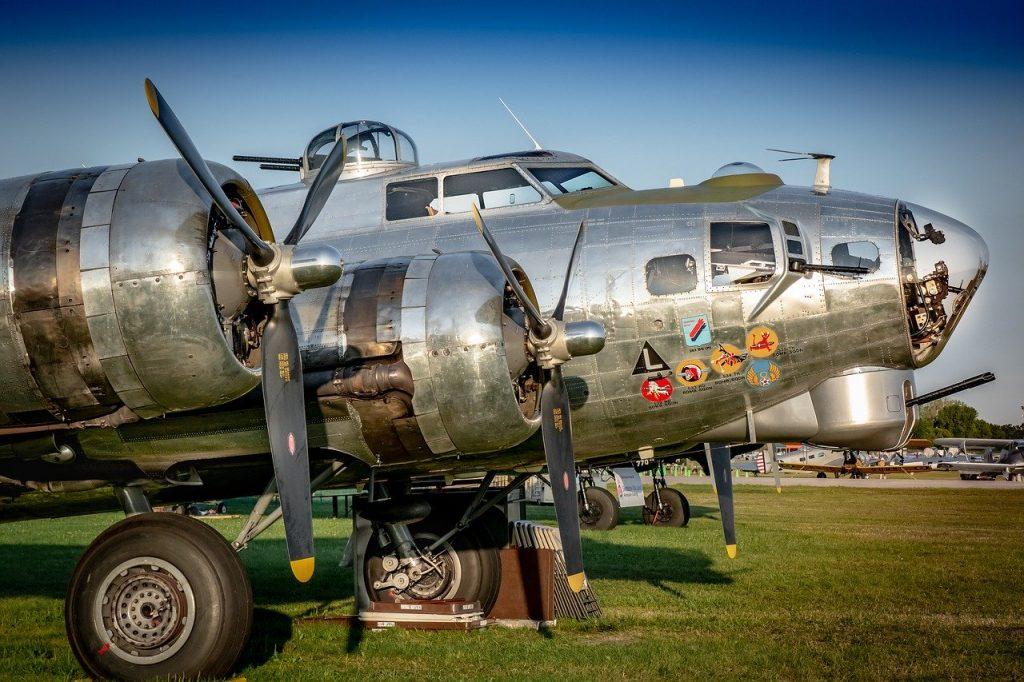 world war II bomber ride at an airport
