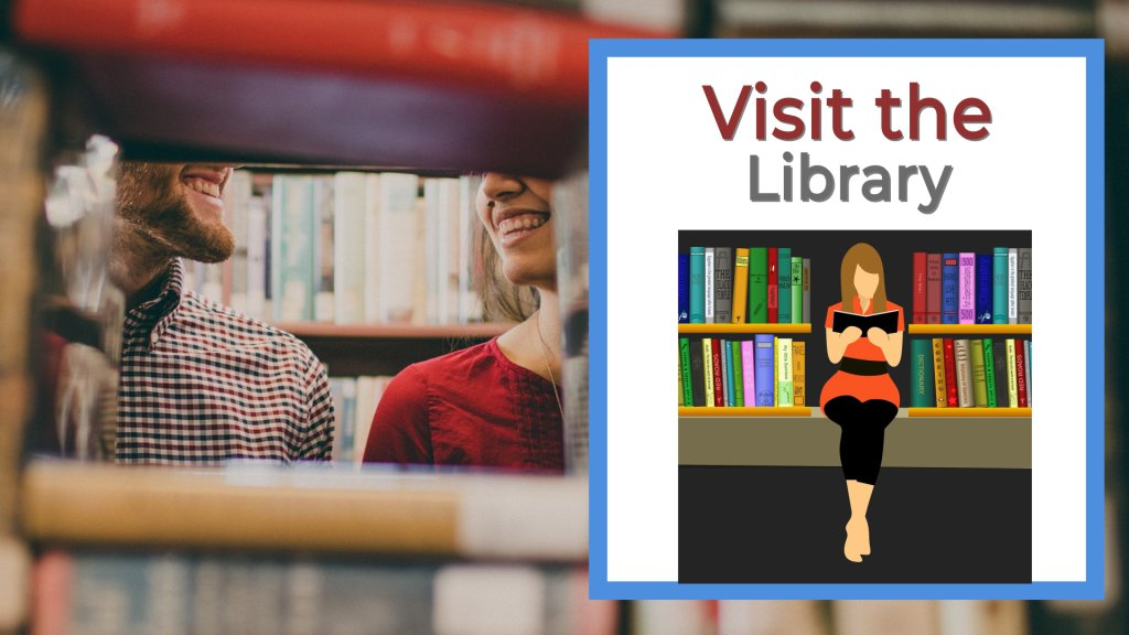 Visit the library girl and guy at a library