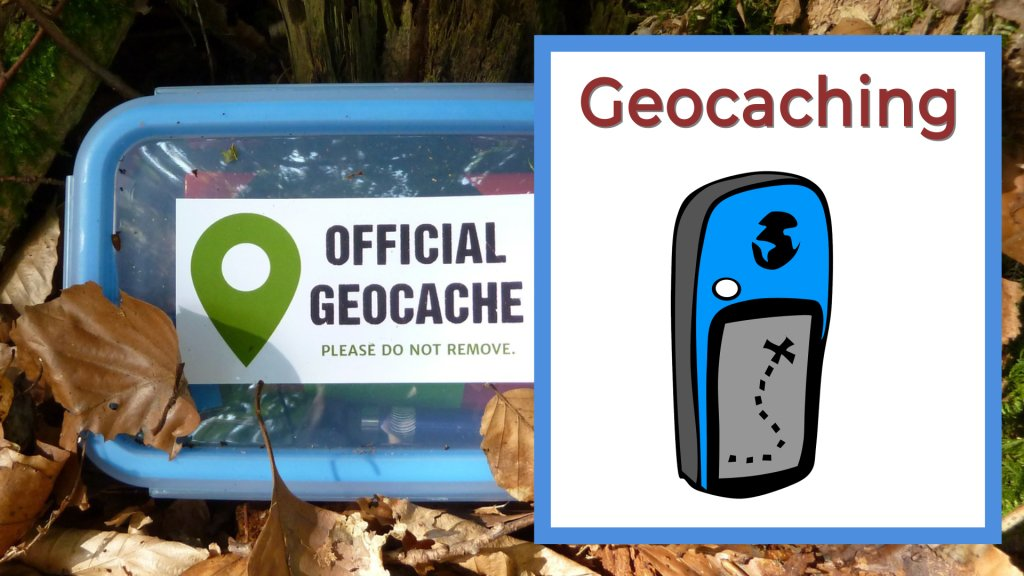 blue Geocaching box in the forest