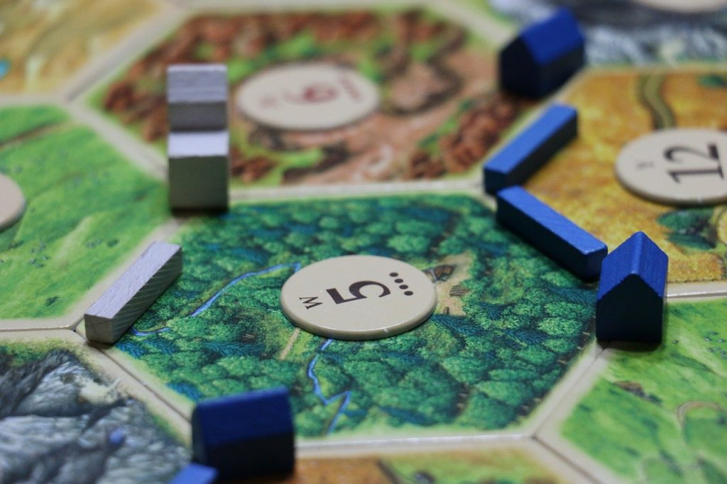 Closeup of of a board game on a table.