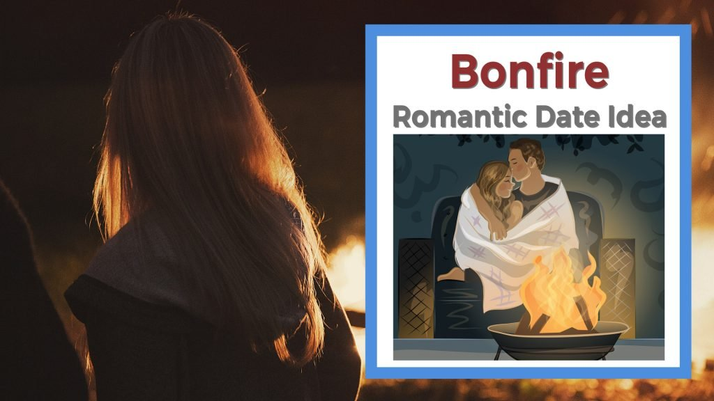 Man and woman on date next to bonfire