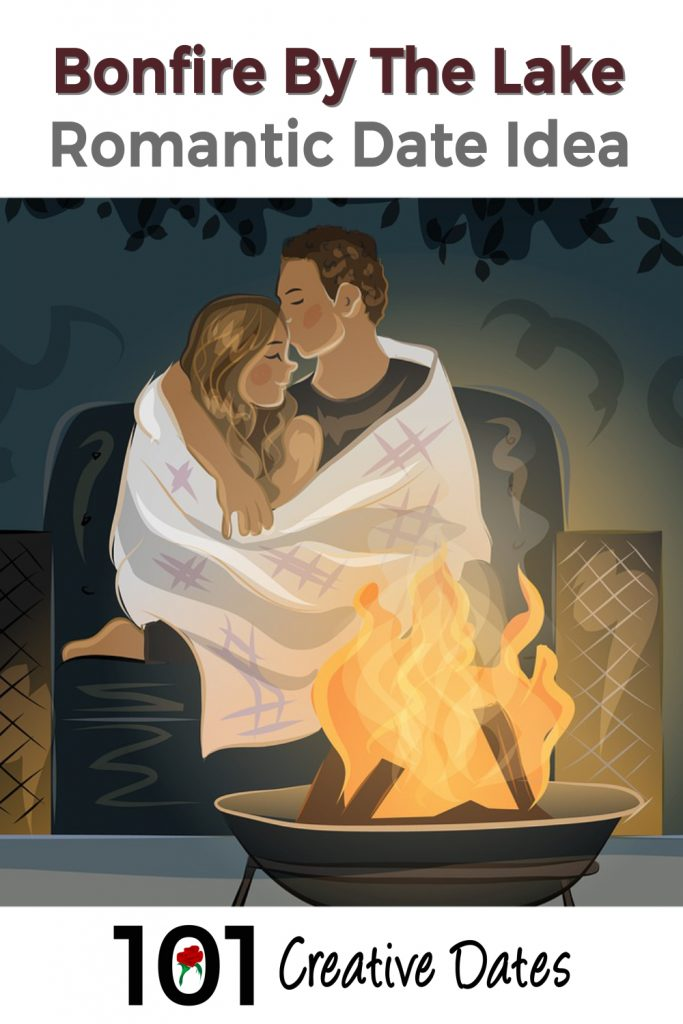 Romantic date idea with a couple next to a fire.