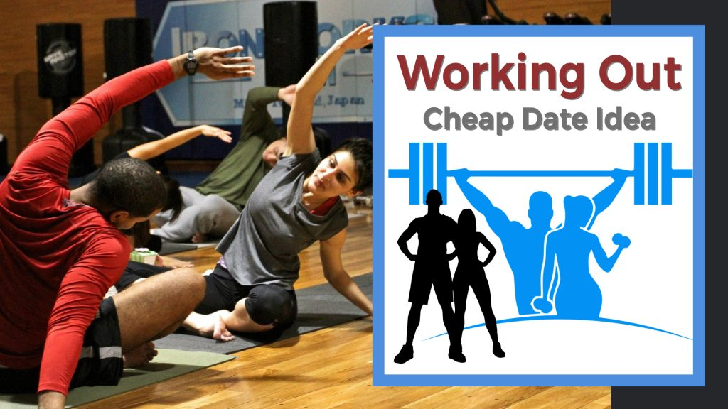 Couple working out in a gym doing yoga.