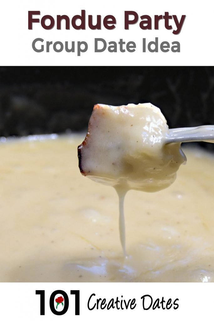 Fondue party group date idea pin for Pinterest
