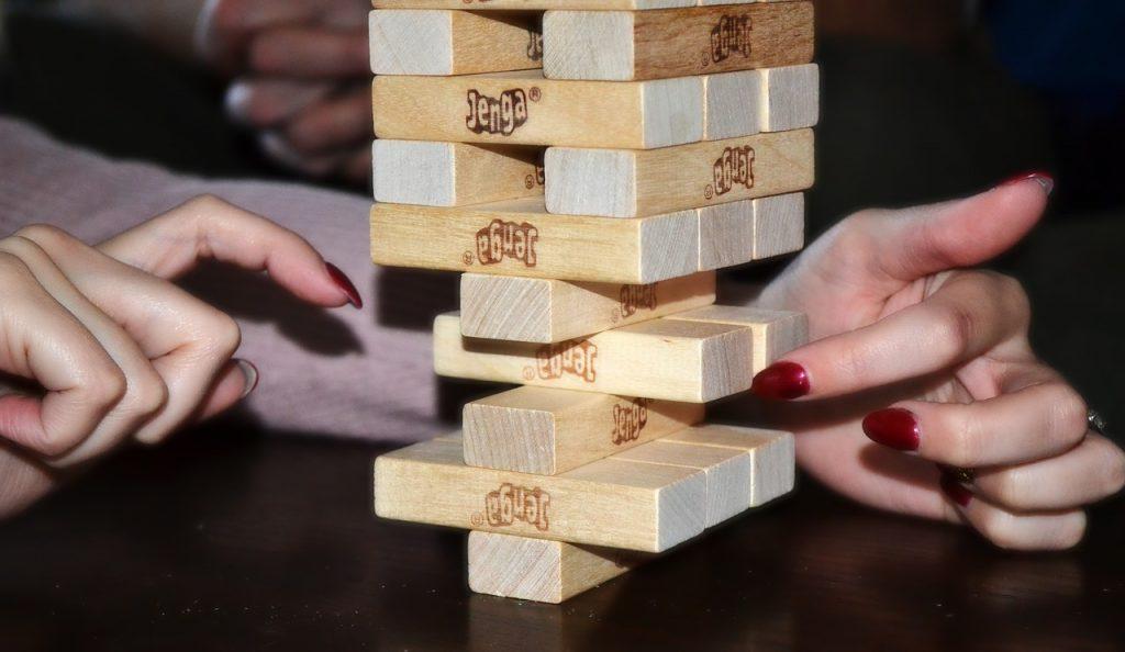 Woman playing Jenga
