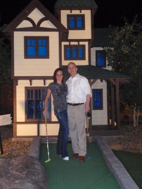 Couple on a miniature golf date up in Prescott, AZ