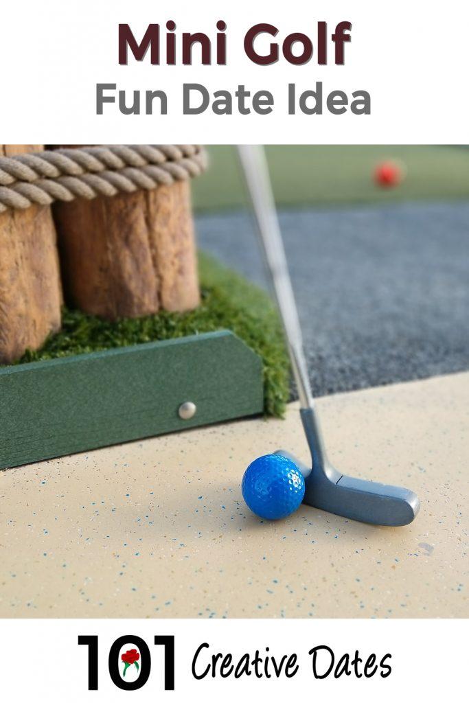 Miniature golf date idea pin for Pinterest
