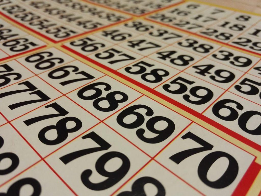Bingo cards on a table